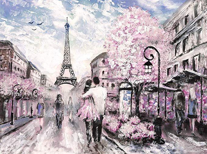 Lover Couple Yellow Umbrella France Paris Eiffel Tower Canvas Wall Art ~ 5 Size