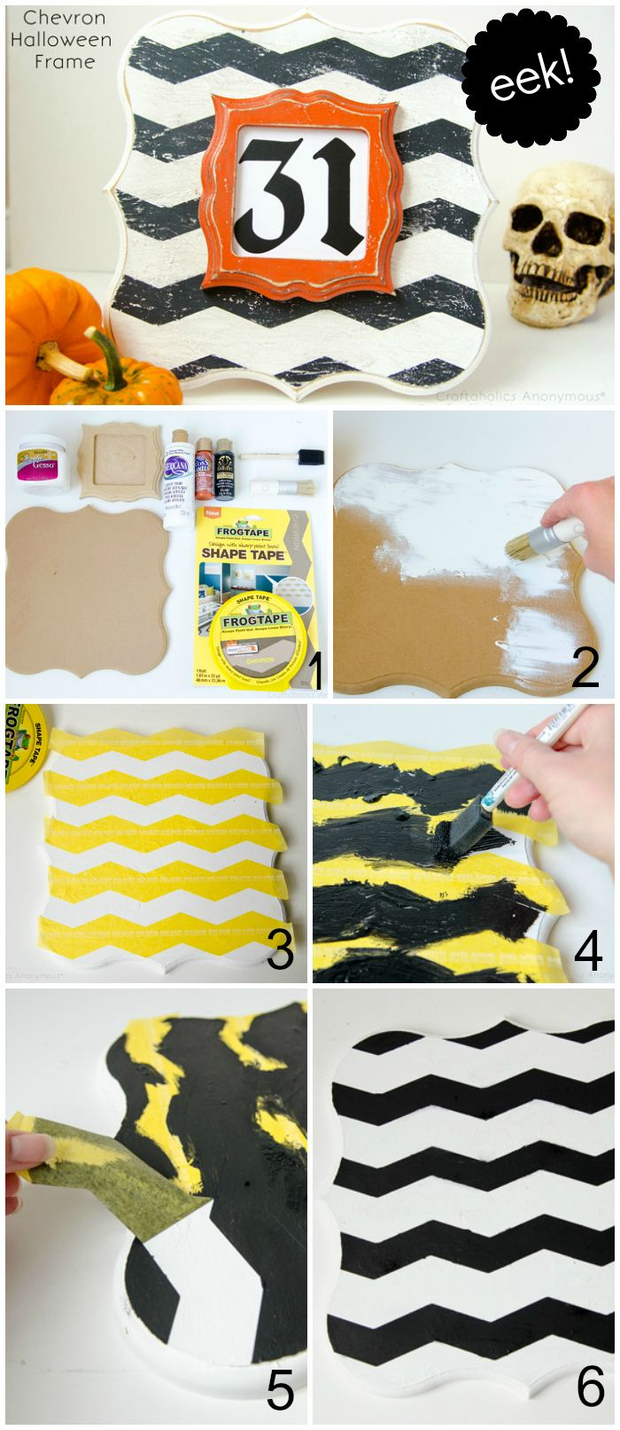 Craftaholics Anonymous® | Chevron Halloween Frame Tutorial, would be cute in Fall or Christmas colors too!