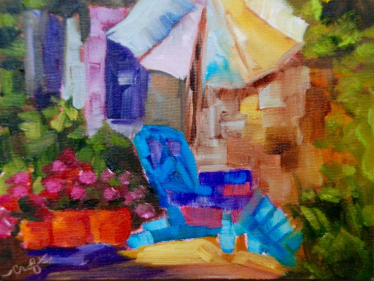 Relaxing in the Garden. 5 x 7 on Canvas Board ready to pop into any standard 5x7 frame. Adirondack chair in the garden.