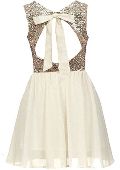 Wedding Glitters Dress: Features a romantic cutout back crowned with dreamy ribbon ties, glittering gold sequin bodice, swingy ivory chiffon skirt, and a princess-style mesh overlay to finish.