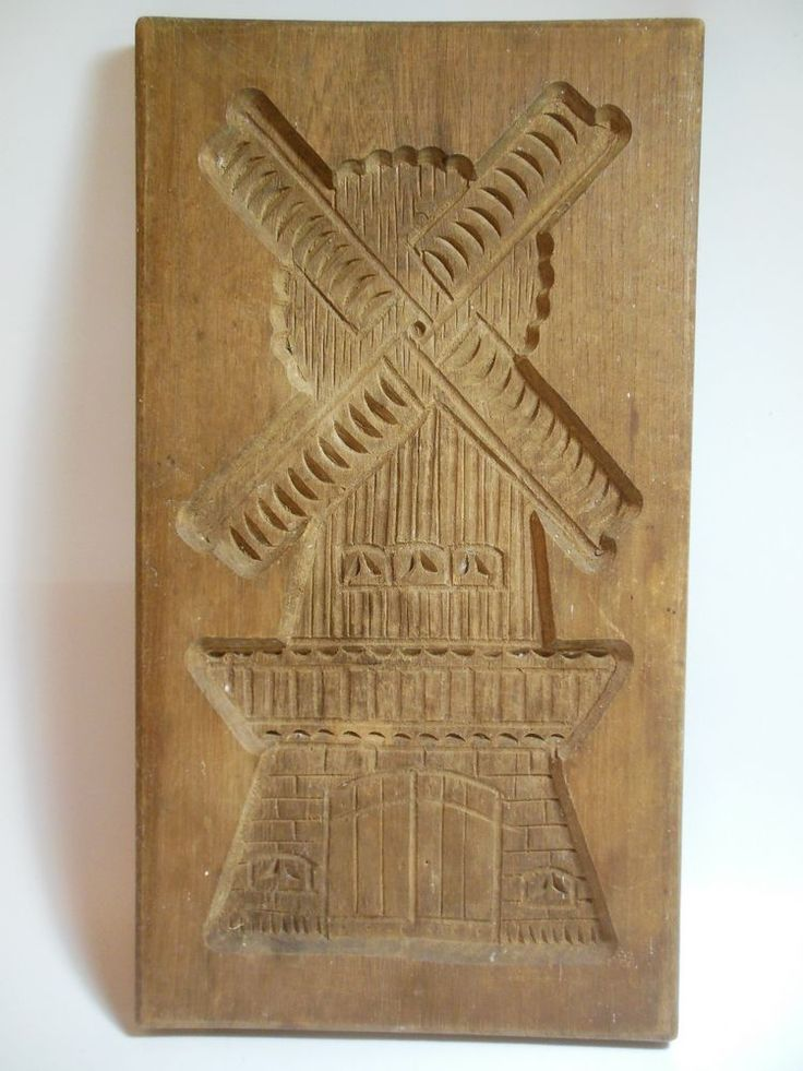 Vintage Wooden Shortbread Mold Hand Carved Windmill Large