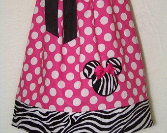 Vestido de Minnie Mouse funda de almohada / color de rosa / Zebra / Disney recién nacido / niño / bebé / niña / niño / hecho a mano / Custom Boutique ropa