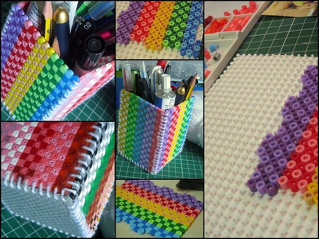 Hama Bead Pencil Cup | I love how the stitched it together instead of gluing. Stronger that way.