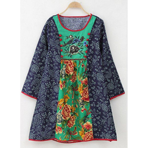 Floral Print Embroidered Ethnic Style Dress