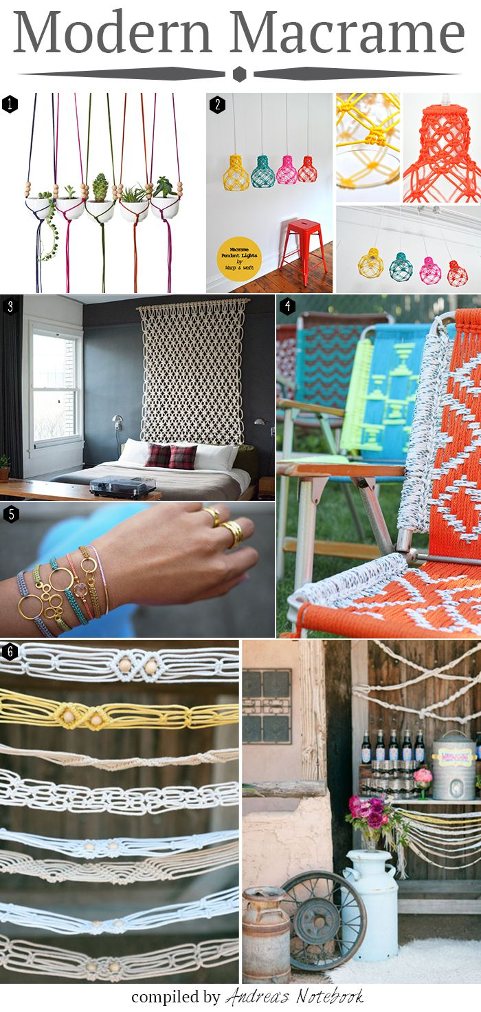 modern macrame projects This is definitely not the Macrame of the 80's !!! I may have to try these!