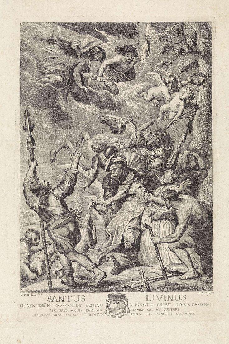 Philippe Lambert Joseph Spruyt | Martelaarschap van de H. Livinus van Gent, Philippe Lambert Joseph Spruyt, 1747 - 1801 | De tong van de heilige Livinus is uitgerukt. Een beul houdt hem bij de baard vast, een andere man houdt de tang met de tong vast. Het paard op de achtergrond en de soldaten schrikken als aan de hemel engelen verschijnen en een mannelijke figuur het laat bliksemen. Midden onder een opdracht in het Latijn aan en het wapenschild van kardinaal Ignazio Michele Crivelli.