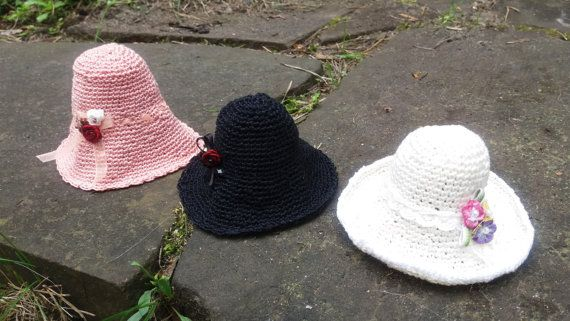 Crocheted HAT for dolls 5-6'' head size  black pink
