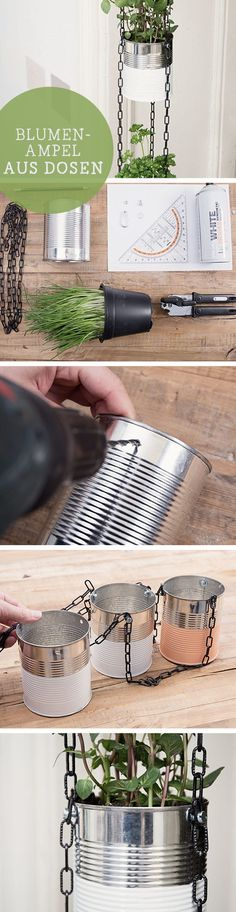 DIY-Anleitung: Hängende Blumenampel aus Dosen / upcycling diy tutorial: craft hanging planters with cans, kitchen decor via DaWanda.com