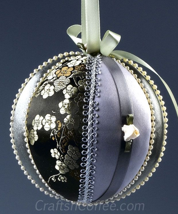 So pretty! These DIY Satin and Brocade Tucked Fabric  Ornaments are great stash busters. CraftsnCoffee.com.