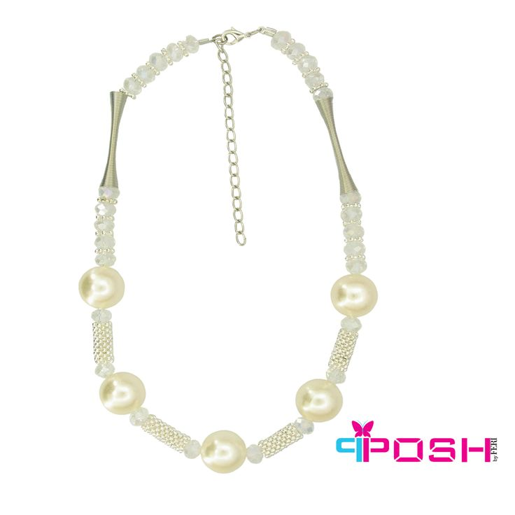 Lada - Crystal beads Chain necklace - off white colour - Dimensions: 43cm + 5 cm extending chain $45 #necklace #jewelry