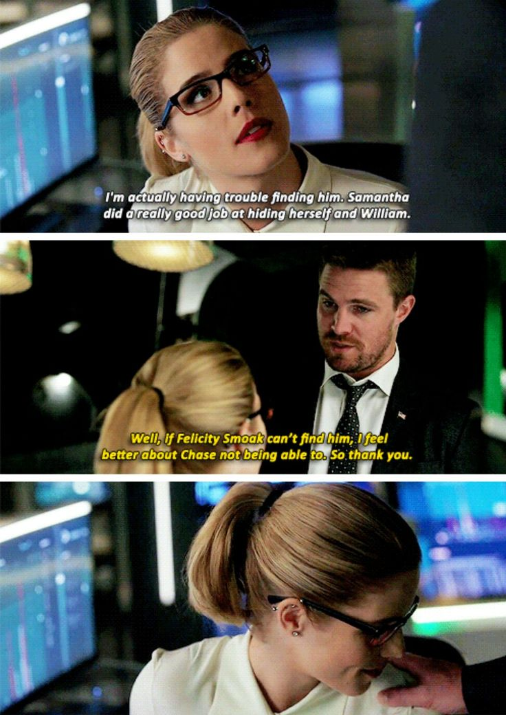 """#Arrow 5x21""""Honor Thy Fathers"""" - """"I'm actually having trouble finding him. Samantha did a really good job at hiding herself and William. Well, if Felicity Smoak can't find him. I feel better about chase not being able to. So thank you. """" - #FelicitySmoak #OliverQueen"""