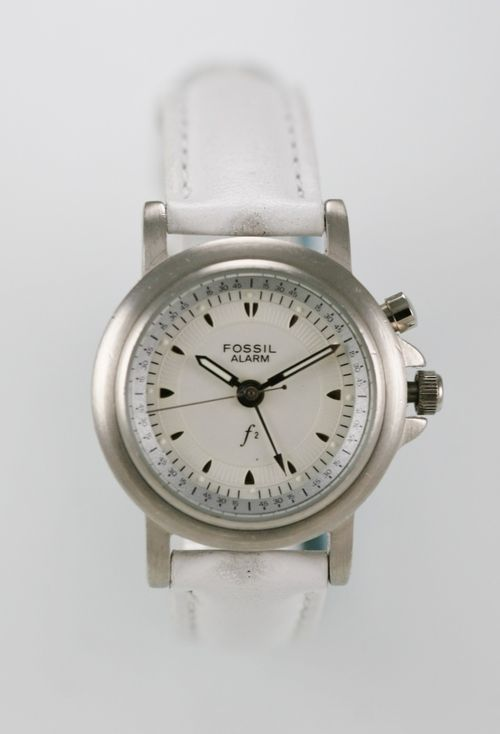 Fossil F2 Womens Watch Leather White Stainless Silver Water Res Battery Quartz