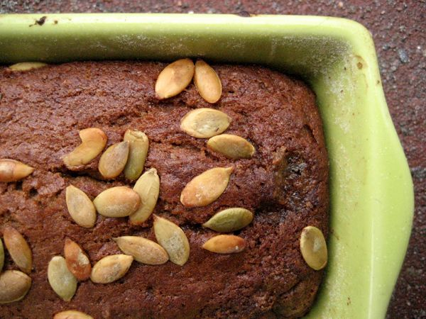 vegan pumpkin bread: I've made it several times now. Tips: DO NOT OVERMIX and BAKE THE HELL OUT OF IT. It's really good with or without nuts, pecans and/or walnuts work equally well.