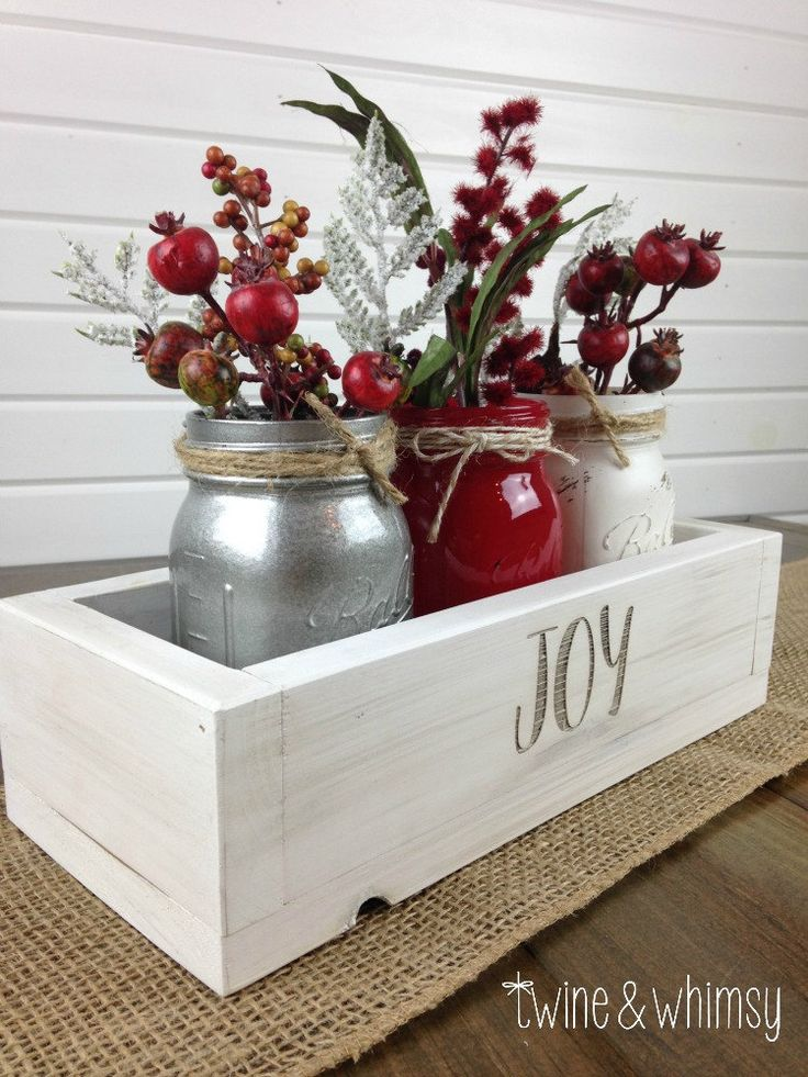 This beautiful handmade centerpiece is very versatile and can be used for a table or mantle centerpiece, or a special event. It is hand cut and assembled from high quality, hand-picked pine, then engraved. The piece is then sanded and painted or stained and hand-distressed in the finish of your choice. The knots and wood grain give each piece individual character and rustic charm. The jars are hand-painted, distressed and sealed.  Check out our customer reviews for assurance of our excellent…