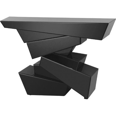 Create A Dramatic Canvas For Your Favorite Objects Du0027art With This Modern  Console Table, Showcasing A Stacked Geometric Design Plated With Beveled  Black ...