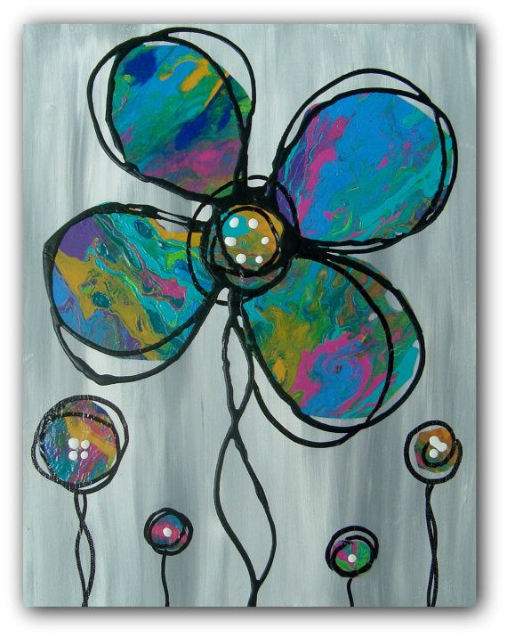 Abstract Floral Painting Colorful Blooms Whimsical by TracyHallArt
