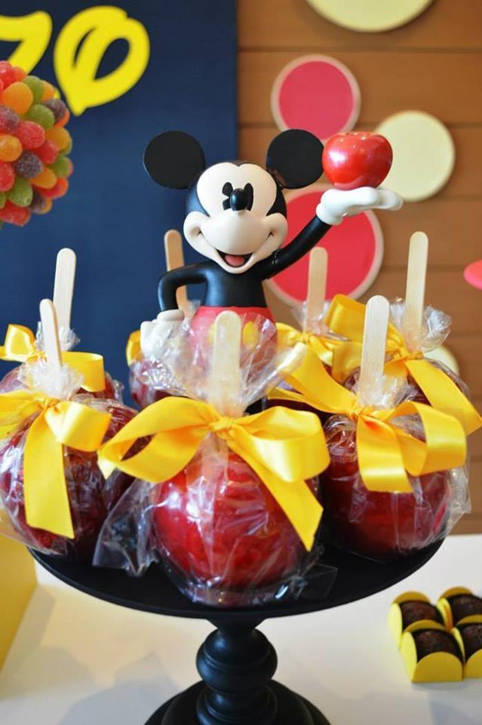 Caramel apples at a Mickey Mouse 1st Birthday Party via Kara's Party Ideas   Kara'sPartyIdeas.com #MickeyMouseClubhouse #Party #Ideas #Supplies #mickeymouse #caramelapples
