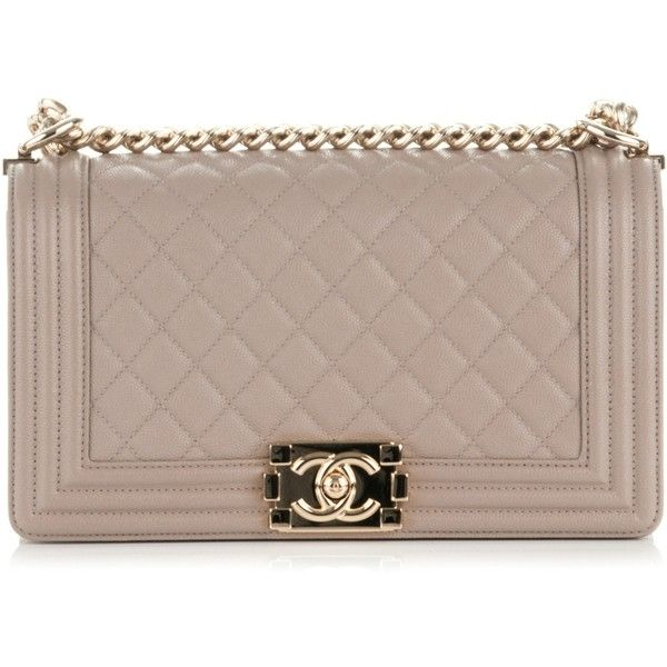 CHANEL Caviar Quilted Medium Boy Flap Dark Beige ❤ liked on Polyvore featuring bags, handbags, shoulder bags, evening handbags, leather purses, quilted chain strap shoulder bag, leather shoulder bag and brown leather shoulder bag