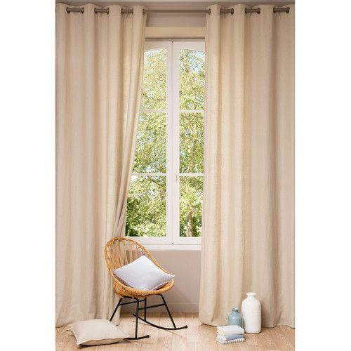 Washed linen eyelet curtain in beige 140 x 300cm