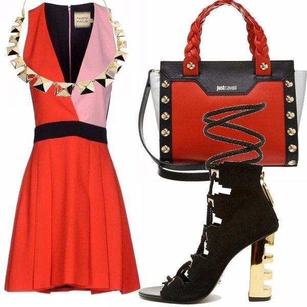 Per una festa di compleanno in un locale alla moda della tua città, ecco il vestito adatto. Nelle tonalità dell'arancio, rosa e nero e accessoriato con collana dorata che richiama le borchie della borsa ed il tacco delle scarpe allacciate alla caviglia.
