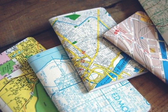 City Recycled Map Notebooks (Set of 3). $22.00, via Etsy.
