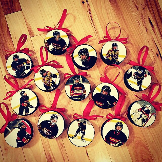 DIY hockey puck ornaments!                                                                                                                                                                                 More