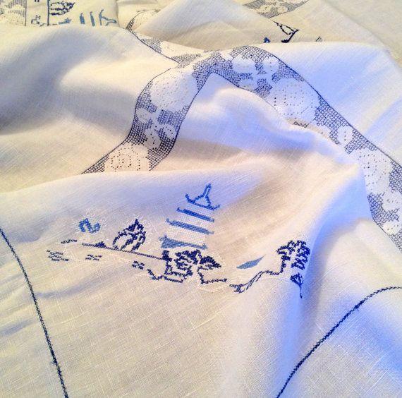 Vintage Asian Tablecloth  Gorgeous Asian by izzysvintagegarden, $42.00
