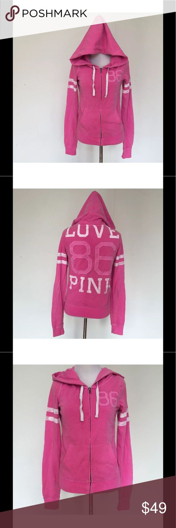 """Victorias Secret PINK Zip White 86 Rugby Hoodie S Victorias Secret PINK Zip Up White 86 Rugby Hoodie Sweatshirt Surfer Retro Small  Victoria's Secret PINK cute and cozy zip up hoodie. The number """"86"""" are on the front and back. It also has LOVE PINK on the back as well. It has 2 white stripes on each sleeve. Super soft inside! Two front pockets and drawstrings for the hood.   Size: Small Bust (flat): 19""""-24"""" Length (from shoulder): 21"""" Sleeve inseam (from armpit): 21.5""""  60% Cotton. 40%…"""