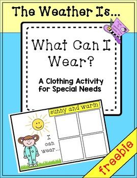 This is a free sample of a file folder activity I created for my special needs kids who are working on choosing appropriate clothing for the weather and need many repetitions to master this goal. This freebie includes 1 mat:The weather is sunny and warm...I CAN wearI CAN'T wear20 clothing pictures You can create this as an interactive, reusable activity by laminating and attaching velcro dots to the pictures and mats.
