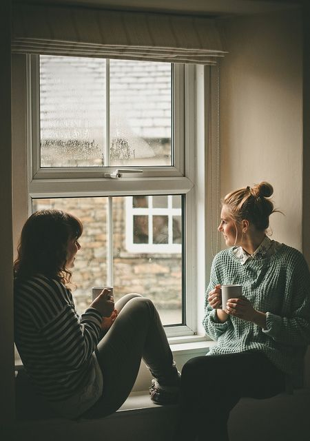 Having a cup of coffee with your best friend.