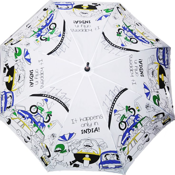 IT HAPPENS ONLY IN INDIA is an umbrella that illustrates the condition of roads and people during Indian Monsoons.
