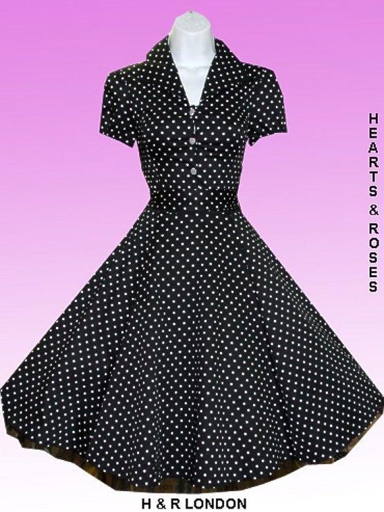 Robe Pin-Up Rétro 50's Rockabilly Pois Noir - Robe - Vetements Femme - Tous nos Produits