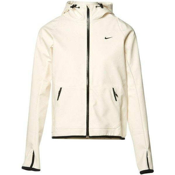 Pre-owned Nike Jacket ($139) ❤ liked on Polyvore featuring outerwear, jackets, ecru, women clothing jackets, hooded drawstring jacket, white waterproof jacket, sport jacket, sports jacket and zip jacket