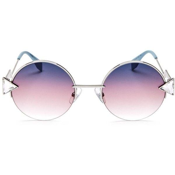 Fendi Embellished Round Sunglasses, 50mm (2,270 MYR) ❤ liked on Polyvore featuring accessories, eyewear, sunglasses, glasses, fendi sunglasses, round frame sunglasses, fendi, fendi glasses and embellished sunglasses