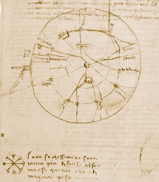MILANO | 1482 - 1499 | Leonardo da Vinci, Pianta e veduta prospettica