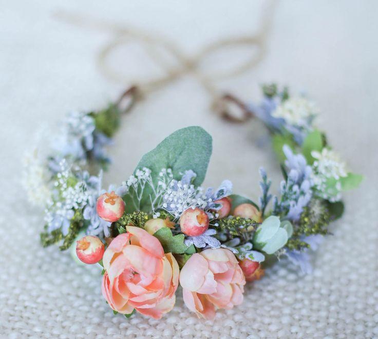newborn crown/ newborn flower crown/ baby flower crown/ newborn photo prop/ girls flower crown/baby flower headband by MissyVBoutique on Etsy