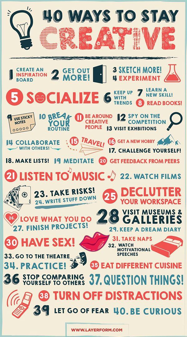 40 Ways to Stay Creative - Infographic by Layerform Magazine, via Behance