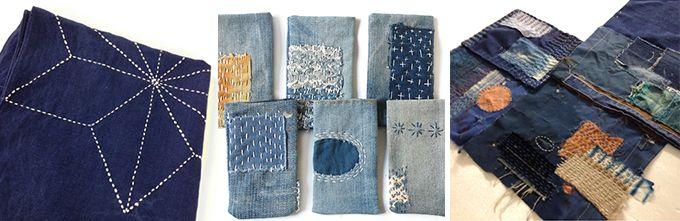 Sashiko borduren, een Japanse reparatie- en recycletechniek uit de 17e eeuw. Deze platte stiktechniek is ontwikkeld vanuit de Japanse arbeidersklasse om kleding en textiel te beschermen of te herstellen. Door het aanbrengen van extra lappen en veel steken wordt de stof steviger en warmer.