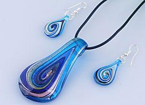 Summer-Silver-Foil-Lampwork-Murano-Glass-Pendant-Necklace-Earrings-Set-Jewellery