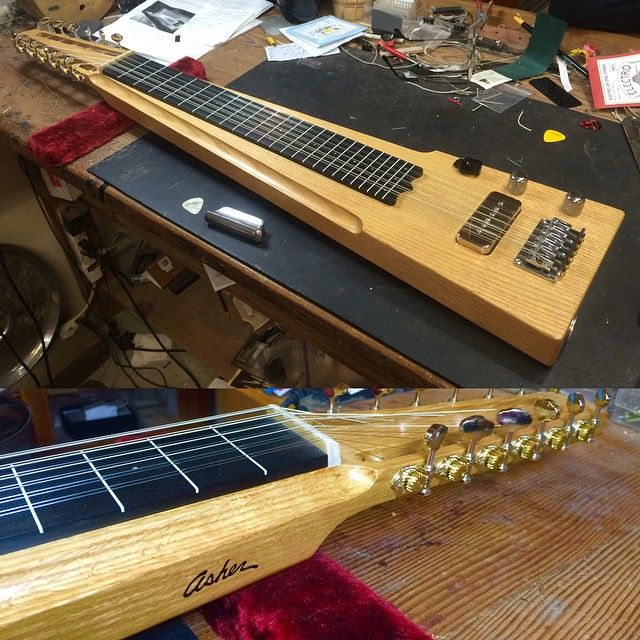 Here's a first for Asher guitars. A 12-String electric lap steel I just finished today. Also built in a linear shape unlike anything I have made before. Commissioned by Santa Rosa Music for one of their customers. #lapsteel #asherguitars #santarosamusic #12string #customguitars