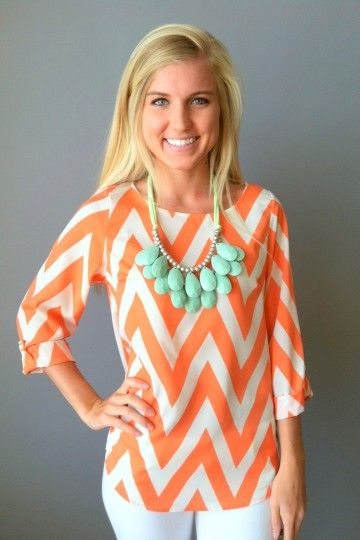 Chevron shirt + turquoise necklace...loving the chevron pattern this fall!!