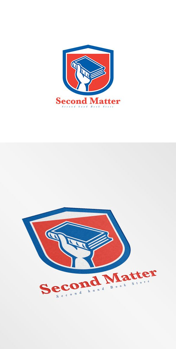 Second Matter Second Hand Bookstore Logo. Logo shoeing illustration of a hand holding book set inside shield crest done in retro style. 100% re-sizeable vectors. Logo available in vector EPS