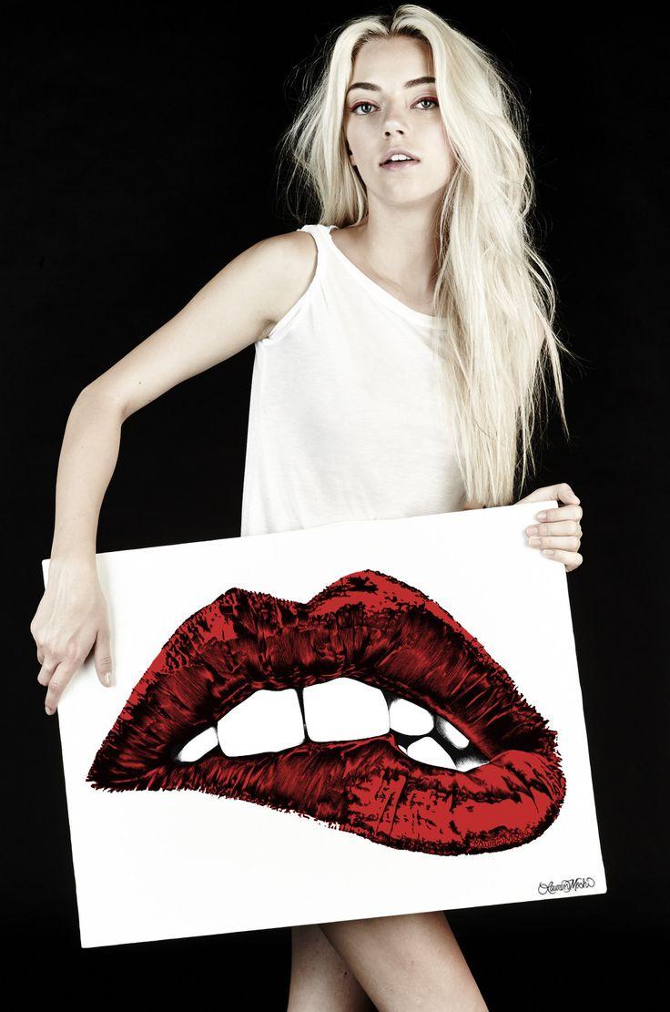 Canvas Color Biting Lip Art // Lauren Moshi