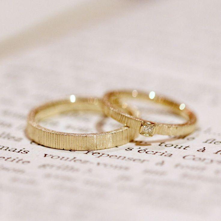 プリンセスカットのダイヤモンドでお作りした結婚指輪(オーダーメイド/手作り) [marriage,wedding,ring,diamond,gold,マリッジリング,ウエディング,]