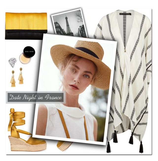 """How to Style a Striped Kaftan with Gold Espadrilles for a Smokin' Hot Summer Date Night in France"" by outfitsfortravel ❤ liked on Polyvore featuring Tory Burch, Bobbi Brown Cosmetics, Oscar de la Renta, Chanel and Harveys"