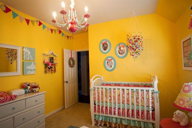 Yellow, cheery nursery with bright accents: Wall Colors, Colors Playrooms, Bright Nurseries, Carnivals Nurseries, Projects Nurseries, Gardens Fabrics, Kumari Gardens Nurseries, Nurseries Ideaa, Nurseries Ideas