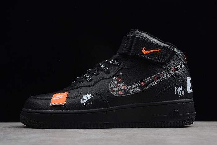 Nike Air Force 1 Mid Just Do It Black Total Orange White For Sale Nike Shoes Air Force Nike Air Force Ones Nike Shoes Air Max