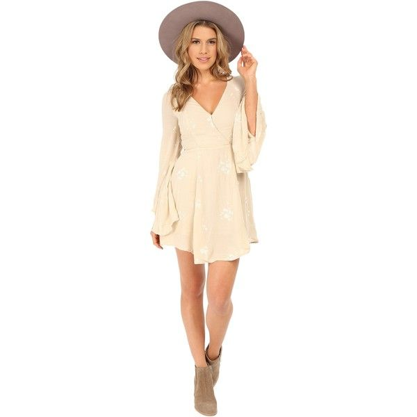 Free People Jasmine Embroidered Mini Dress (Almond Combo) Women's... ($60) ❤ liked on Polyvore featuring dresses, neutral, long-sleeve mini dress, beige dress, mini dress, long dresses and short dresses