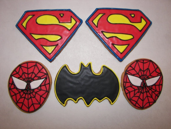 Superman Spiderman and Batman Cookies by ruthiescookies on Etsy, $48.00