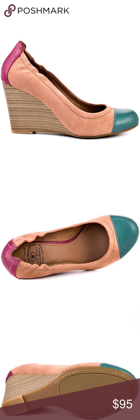Lucky Brand Gabrielle Bermuda Sand Wedges Lucky Brand Gabrielle Bermuda Sand Wedges. Cute multi color pump. Blush suede upper with accents of green and pink leather. A 3 inch heel height will keep you comfy and finishes off this bright look. Leather Upper. Man Made Sole. This shoe fits true to size. NWT! 👗Fab Ab's Closet; Re-Styled Resale 👗 🎀15% Off 3+ Item Bundles🎀 👉🏻Please Use Offer Button👈🏻 ❌NO PP, TRADES, HOLDS❌  🛍Items Always 100% Authentic🛍 ✔️Excellent Pre-Owned Condition✔️…